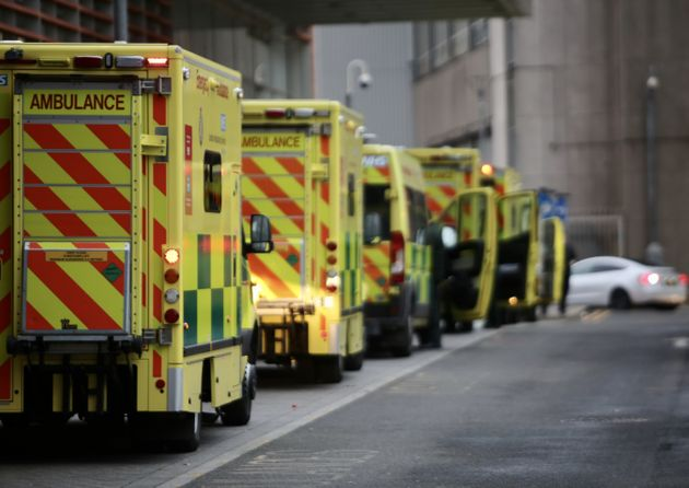 Ambulances wait outside London Royal Hospital as the number of coronavirus cases surge due the...