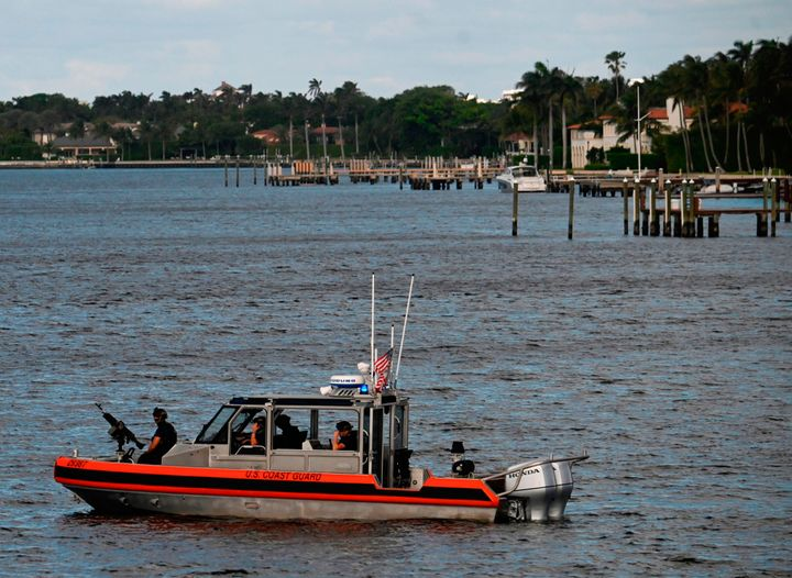With President Donald Trump staying at Mar-a-Lago, the Coast Guard monitors a nearby waterway in Palm Beach, Florida, on Dec. 29, 2020.