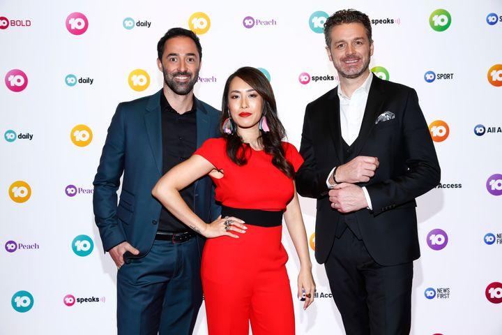 MasterChef judges Andy Allen, Melissa Leong and Jock Zonfrillo during the Network 10 Melbourne Upfronts 2020 on October 11, 2019.