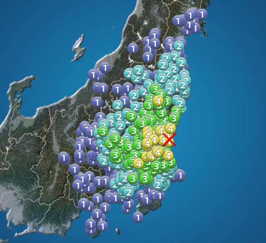 【地震情報】茨城、栃木、千葉、福島で震度4。津波の心配なし