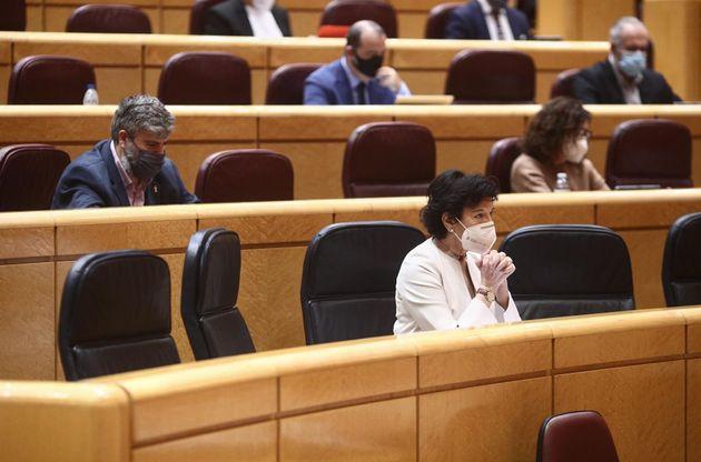 La ministra de Educación, Isabel Celaá, durante una sesión plenaria en el Senado, en Madrid el 23 de...