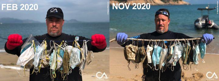 Les masques chirurgicaux polluent les océans. Plus de 1,5 milliard de masques finiront dans les océans.