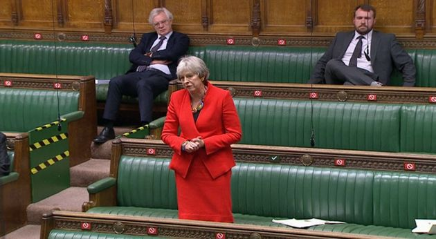 Former prime minister Theresa May during the debate in the House of Commons on the EU (Future Relationship)