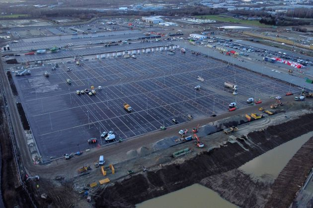 An aerial picture shows construction work continuing at the site of a lorry park being built between...