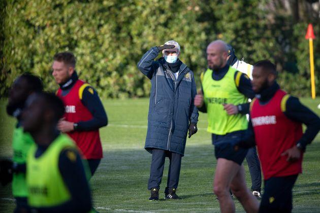 L'entraîneur du FC Nantes Raymond Domenech le 30 décembre 2020 au terrain de La Joneliere, situé à La