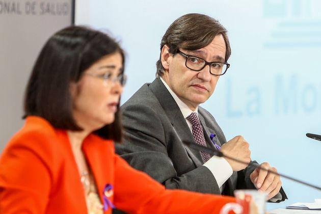 Carolina Darias y Salvador Illa, durante una rueda de prensa posterior al Consejo Interterritorial del...