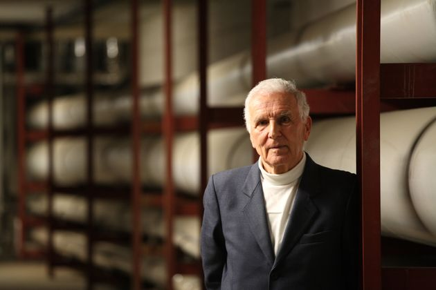 The scientist Silvio Garattini photographed inside the power plant at the Mario Negri Institute for Pharmacological...