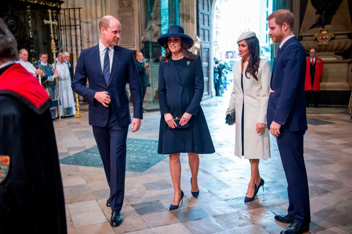 Prince William, Kate Middleton, Meghan Markle and Prince Harry at a Commonwealth Day Service at Westminster Abbey on March 12, 2018.