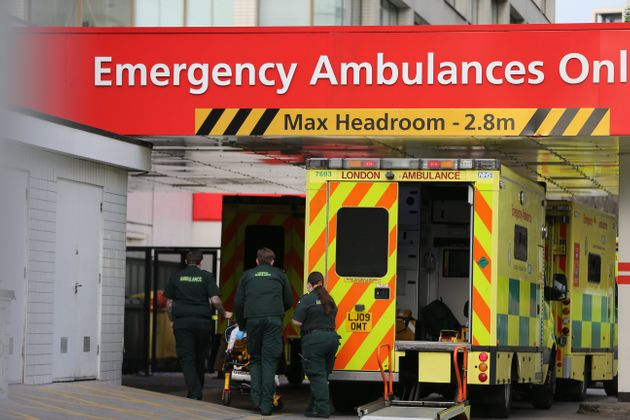 Ambulances bring emergency patients to St Thomas Hospital in London amid a soaring number of