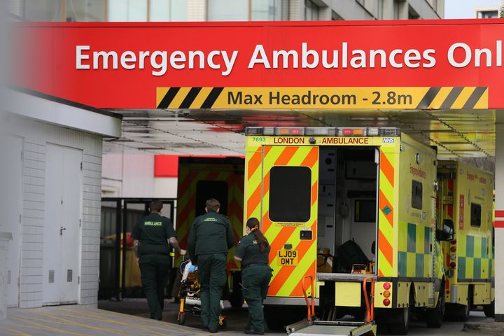 Ambulances bring emergency patients to St Thomas Hospital in London amid a soaring number of cases.