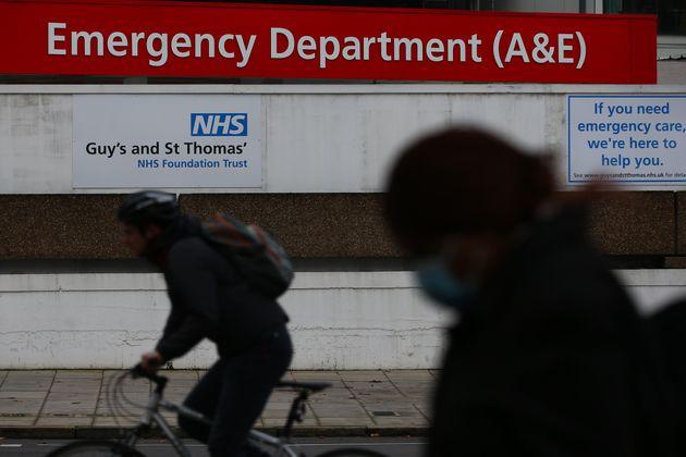 A pedestrian walks past the St Thomas' Hospital emergency