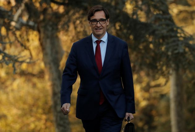 Spain's Health Minister Salvador Illa arrives to attend the first cabinet meeting at the Moncloa Palace...