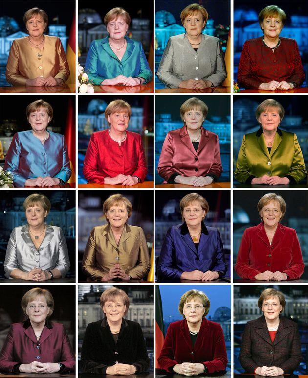 FILED - 30 December 2020, Berlin: KOMBO - German Chancellor Angela Merkel (CDU) photographed after recording...