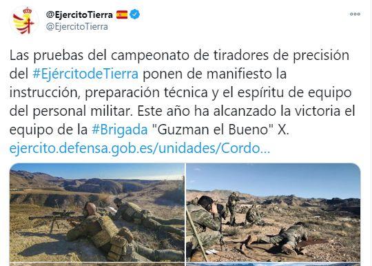 Captura del tuit del Ejército de
