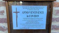 In parrocchia manifesto funebre per il 2020,