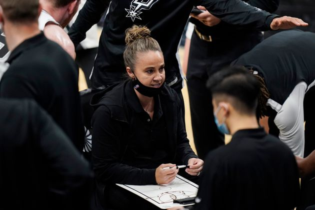 San Antonio Spurs assistant coach Becky Hammon calls a play during a timeout in the second half of the...