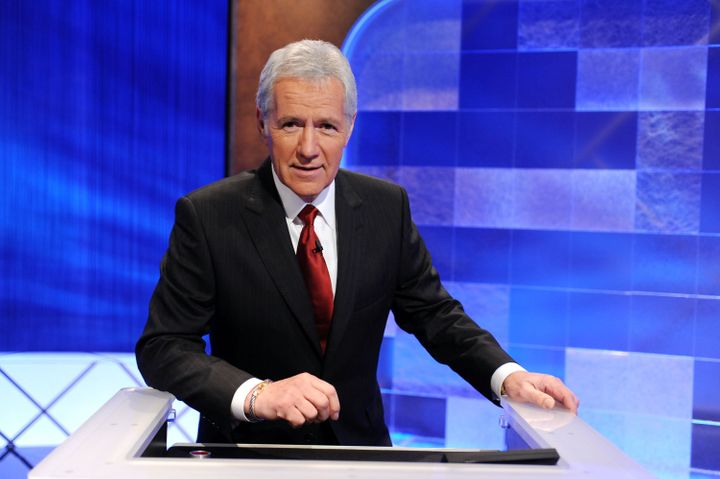 Game show host Alex Trebek poses on the set of the 'Jeopardy!' on April 17, 2010 in Culver City, California.