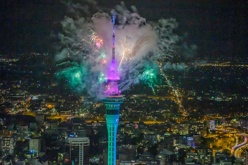 Fireworks from the SkyTower during Auckland New Year's Eve celebrations in Auckland, New