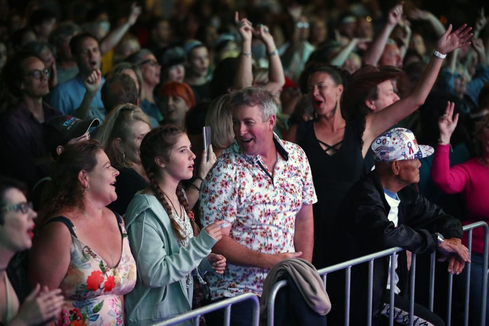 The crowd enjoys the Jordan Luck Band during Auckland New Year's Eve celebrations in