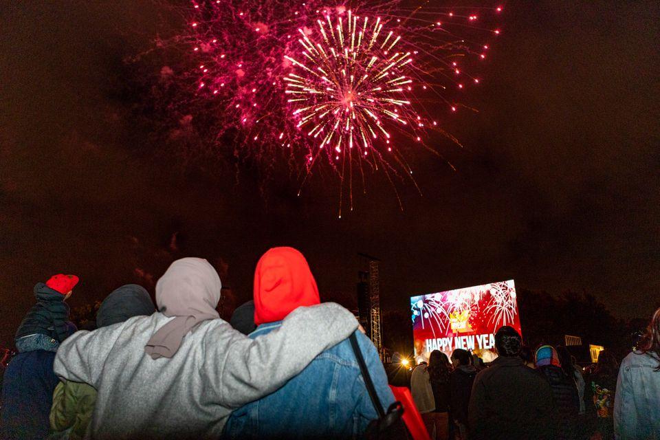 Fireworks explode over Hagley Park in