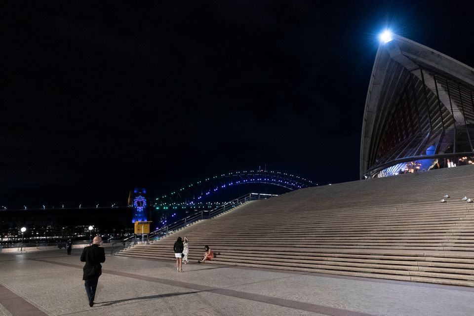 A near-empty Sydney Opera House forecourt during New Year's Eve