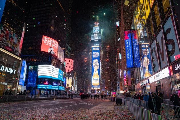 The New Year's Eve ball drops in a mostly empty Times Square on January 1, 2021, in New York City. On...