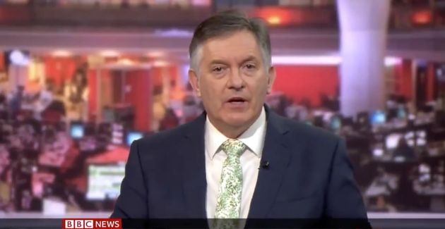 Simon McCoy presenting live on BBC News last
