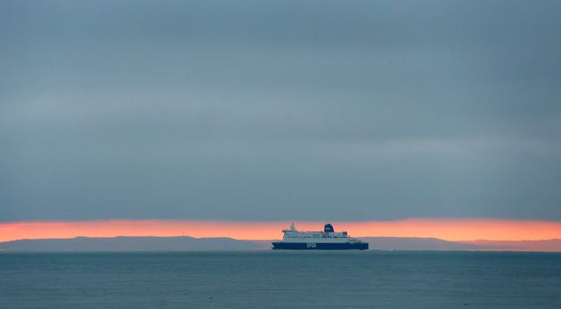 A ferry heads for France after leaving the Port of Dover in Kent as the UK leaves the single market and...