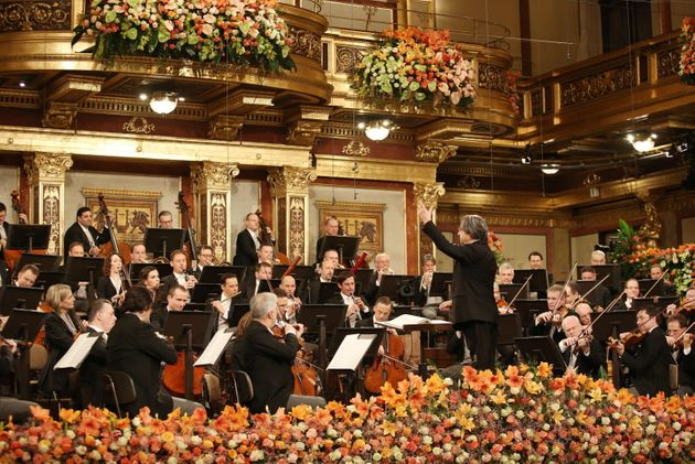 epa08914162 A handout photo made available by Vienna Philharmonic shows the orchestra led by Italian...