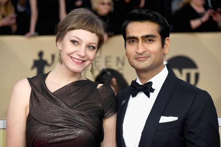 Emily V. Gordon and Kumail Nanjiani attend the 24th annual Screen Actors Guild Awards on Jan. 21, 2018, in Los Angeles.