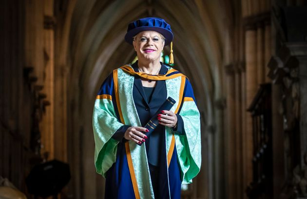 Eddie Izzard with her honorary degree from York St John University ahead of a graduation award ceremony...