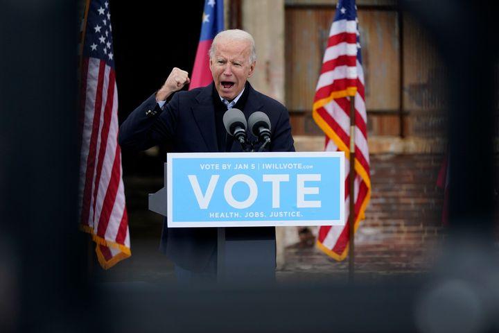 President-elect Joe Biden speaks at a drive-in rally for Georgia Democratic candidates for U.S. Senate Raphael Warnock and Jo