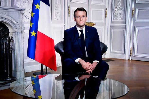 Emmanuel Macron lors de ses vœux à l'Elysée le 31 décembre