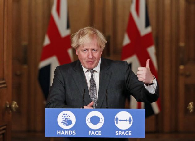 Prime Minister Boris Johnson speaking at a press conference in 10 Downing Street, London, following the...