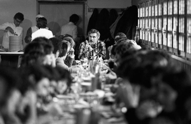Italian entrepreneur Vincenzo Muccioli having lunch with some young people held by the community of San...