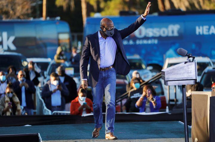 Democratic U.S. Senate candidate Raphael Warnock arrives at a campaign event ahead of Georgia's runoff elections in Savannah