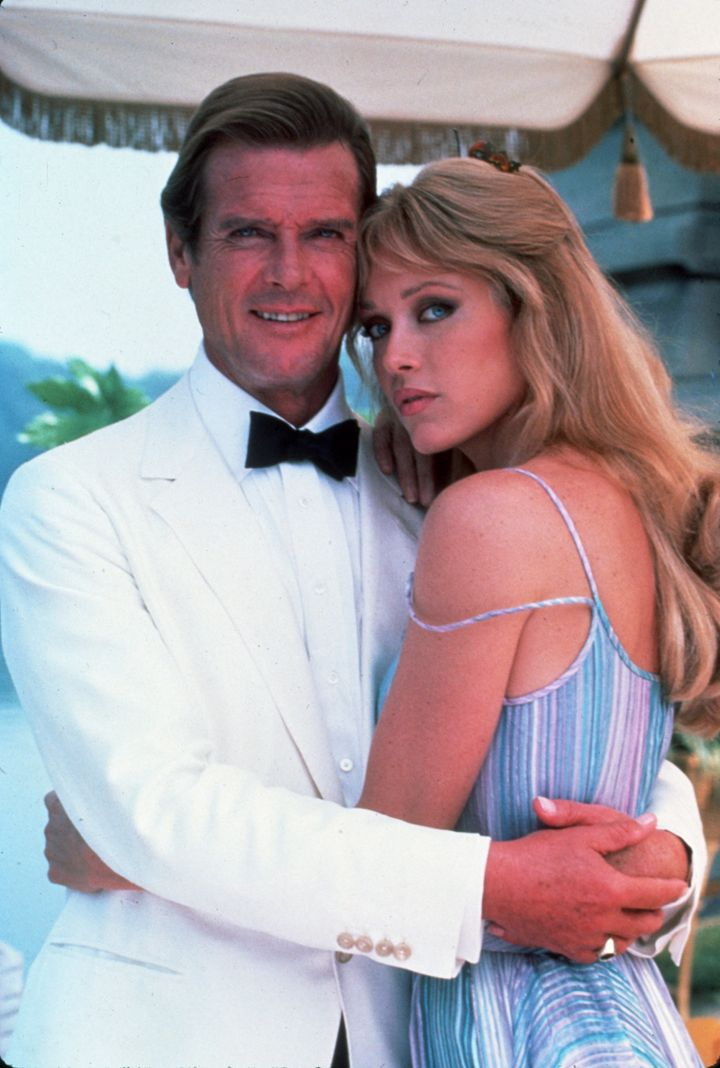 """Tanya Roberts with Roger Moore, who played James Bond in """"A View To A Kill."""""""