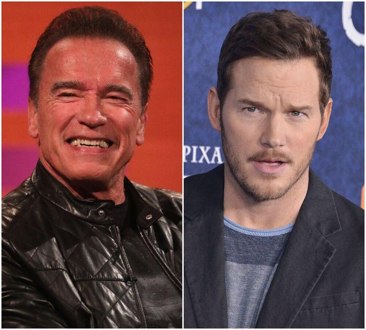 (L-R) Arnold Schwarzenegger and Chris Pratt