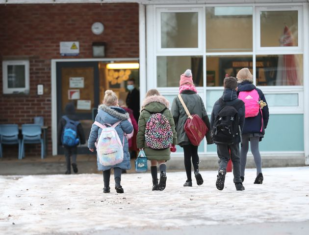 Pupils arrive at Manor Park School and Nursery in Knutsford, Cheshire, as schools across England return...