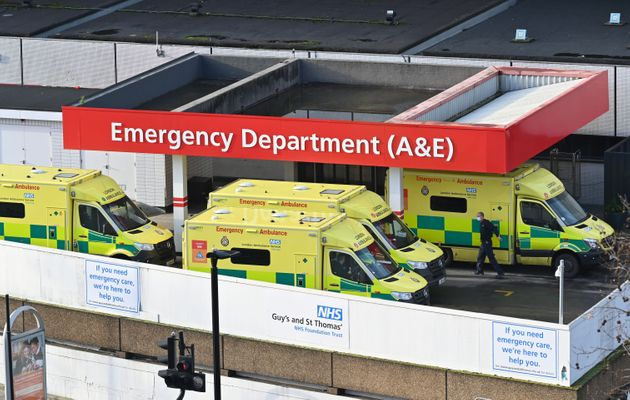 Ambulances are seen outside the emergency department of St Thomas' Hospital in