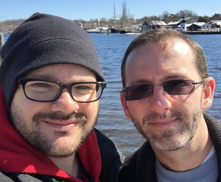 The author (left) and Michael, six months into their relationship.