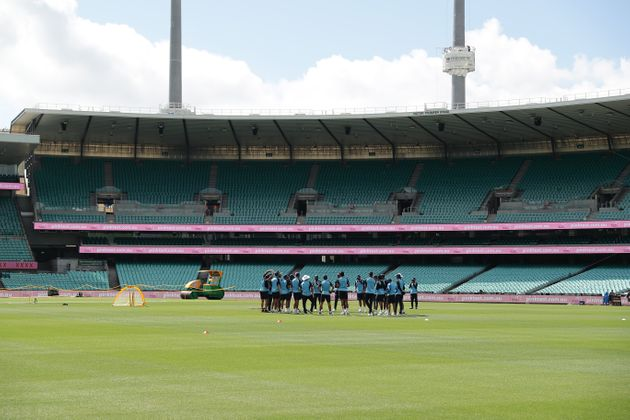 Indian players attend a training session at the Sydney Cricket Ground (SCG) on January 5, 2021, ahead...