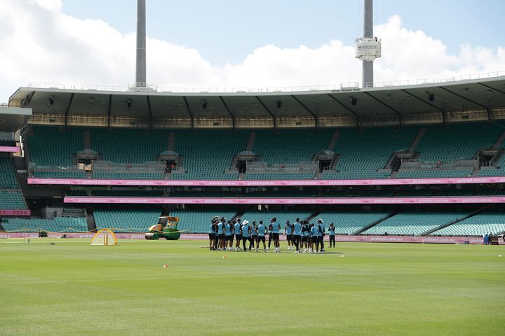 <strong></strong>Indian players attend a training session at the Sydney Cricket Ground (SCG) on January 5, 2021, ahead of their third cricket Test match against Australia.
