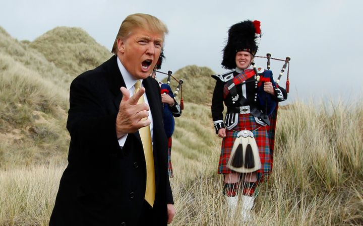 Donald Trump in 2010 at the site of his then-planned Aberdeenshire golf resort in Scotland.