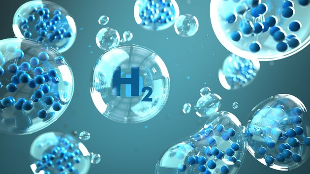 H2 molecule in the bubbles in the liquid. 3d