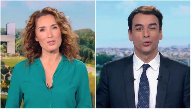 Marie-Sophie Lacarrau et Julian Bugier, respectivement sur TF1 et France 2, lundi 4