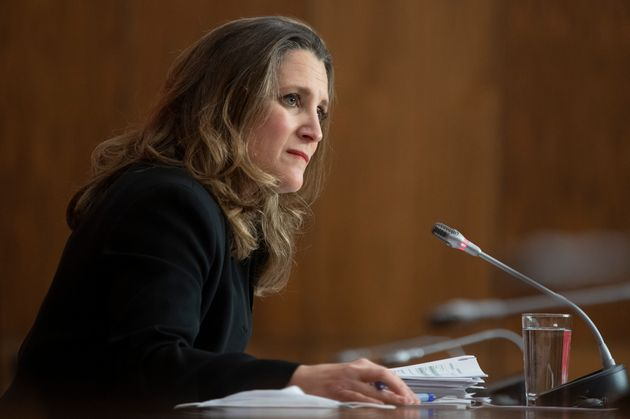 Deputy Prime Minister and Finance Minister Chrystia Freeland at a news conference in Ottawa, Mon. Nov....