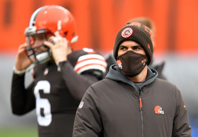CLEVELAND, OHIO - JANUARY 03: Head coach Kevin Stefanski of the Cleveland Browns looks on before the...