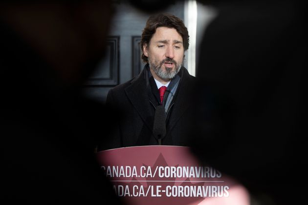 Prime Minister Justin Trudeau speaks during a COVID-19 briefing at Rideau Cottage in Ottawa on Dec. 18,