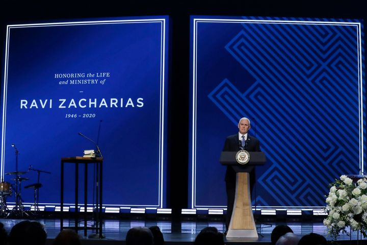 Vice President Mike Pence speaks at Passion City Church during a memorial service for Ravi Zacharias on Friday, May 29, 2020,